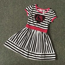,retail  4-8 yrs little Girl's summer Dresses,hello kitty dress in white and black striped design,cute cat dress