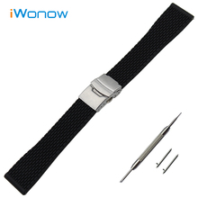 Silicone Rubber Watch Band 20mm 22mm 24mm for Diesel Stainless Steel Safety Buckle Strap Wrist Belt Bracelet Black + Spring Bar