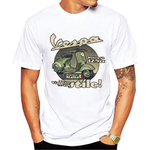 New Summer Men Car Styling t-shirt Fashion Vespa Printed T Shirt Short Sleeve Tee Tops