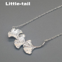 The new listing of fresh natural 925 sterling silver jewelry ginkgo leaf necklace fashion trend high-quality jewelry girls gifts