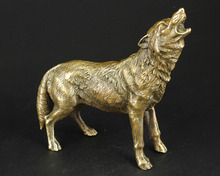 China Collect Manual Sculpture Bronze Vivid Fierce Wolf Statue Ornaments