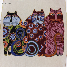 2pcs Yarn Dyed Polyester Cotton Fabric Pillow Jacquard Fabrics Tissus Patchwork Cats Cloth Sewing Bags Cushion Cover Materi