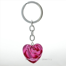 Romantic lovers Rose heart pendant key chain ring fashion red pale pink yellow periwinkle rose keychain women jewelry girl HP312