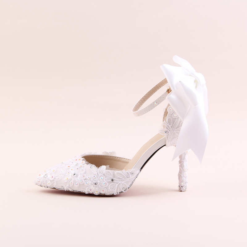 Womens Pointed Toe High Heels Stilettos High-heeled Wedding Shoe White Lace Flowers Bridal Shoes Diamond Dress Sandals 9cm<br><br>Aliexpress