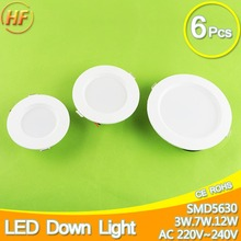 6pcs LED Downlight 220v 3w 7w 12w Led Lamp LED light Cold White Warm White Indoor Lighting panel Foyer Kitchen ceiling recessed