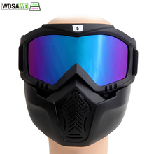 WOLFBIKE Men Women Windproof Snowboard Goggles Ski Glasses Motocross Glass with Face Mask Protection Gear UV protection(China)