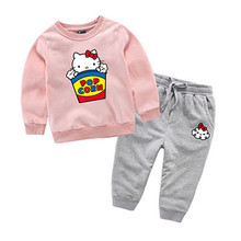 2017 Hello Kitty Children Clothing Set Sport Suit Sweatshirt + Pants Spring Cotton Baby Girls Kids Clothes Tracksuit Outfits