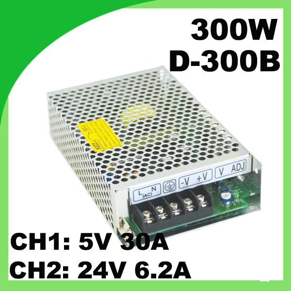 110 / 220VAC 300W dual switching power supply D-300B 5V 30A &amp; 24V 6.2A ac to dc voltage converter<br>