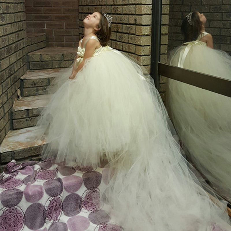Fluffy Girl Flower Dresses with Long Train Pure Ivory Princess Prom Kids Tutu Dress For Wedding Party Evening<br>