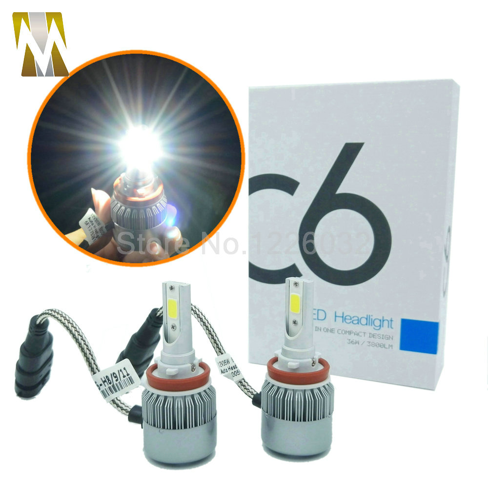 Small Size 36W 3800lm H8 H9 H11 COB Car Headlight Kit Bulb LED Fog Lamp Headlamp Play&amp;Plug H1 H3 H7 HB3 HB4 9005 9006 880 881<br>