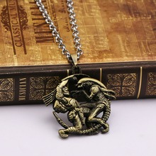 Punk Alien Dragon  Mens Necklace bronze plated Pendant Personalized 2 character pendant collar necklaces Fashion Jewelry