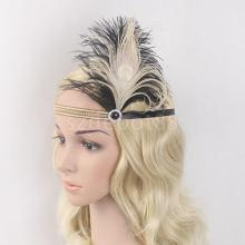Fashion Women Black Beige Feather Headband 1920s Great Gatsby Headpiece Fancy Dress Fascinators Hairband