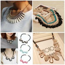 2016 Hot Sale Women Fashion Charm Jewelry Chain Pendant Crystal Choker Statement Bib Necklace