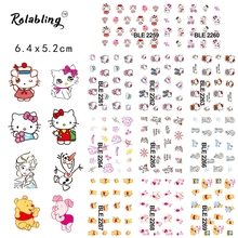 2017 Hot Sale Cute Bears And Cats Cartoon Character Series Water Transfer Nail Sticker Manicure Accessories Nail Stiker