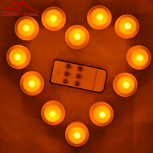 Party Annual Conference Decoration Flameless Rechargeable Tealight Candle with Candle Holder Warm Mood Light In Yellow(China)