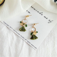 Temperament fashion hand made small tassel earrings The circle earrings Crystal earrings The minimalist retro earrings(China)