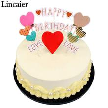 Lincaier Flower Flamingo Heart LOVE Theme Birthday Cake Topper Boy Girl Party Decorations Supllies Men Women