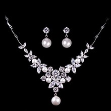 Bridal Jewelry Sets Pearl And Crystal Women Wedding Accessories Rhinestone Indian Necklace Earrings Jewerly Schmuck Parure