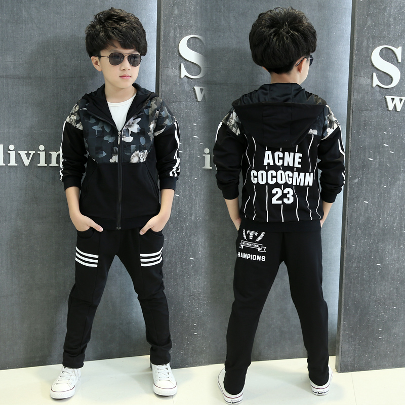 2017 New Spring Printing Hooded Zipper Shirt Jacket Sports Suit Two Piece &amp; 4-12 Age Boy Clothes boy suit    teenage boy clothes<br><br>Aliexpress