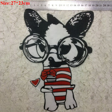 21pcs Glasses dog Embroidery Patches for Clothing Biker Motorcycle Iron-on cartoon puppy Patch for Tops Jeans Jackets T-Shirt