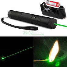 Promotion! Red Green Laser Pointer , Laser Pen , adjustable Flashlight Style With Safety Keys + 4000Mah 18650 Battery + charger