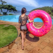 120cm/90cm Pink Chocolate Sweet Circle Swim Float Adult Super Large Pool Inflatable Life Buoy Swimming Ring