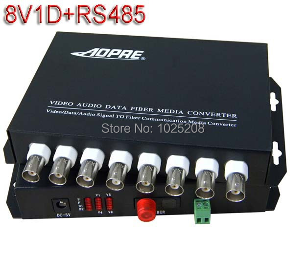1pair 8 channel video data fiber optic media converter,1v1d,RS485,FC/Single mode