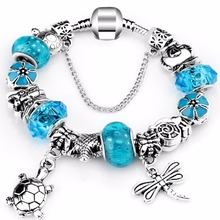 HOT 2018 Fashion Heart Key Tortoise Charm Bracelet Blue Crystal Glass P Bracelets & Bangles for Women Jewelry Gift(China)