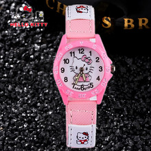 Hello Kitty Kiz Saati Cute Cartoon Pupil Watches Fashion Girls Clock Multi-Color Female Baby Nylon Saats Cool Relogio Infantil(China)