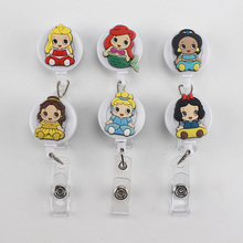 6 pcs Cute Cartoon Character Retractable Badge Reel Student Nurse Exihibiton ID Name Card Badge Holder for Bus Credit Card PY089