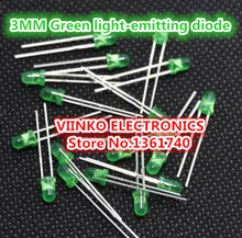 Free shipping 1000pcs Green LED 3MM Green light-emitting diode Green turn Green