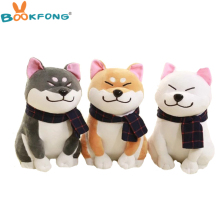 BOOKFONG 1PC Wear scarf Shiba Inu dog plush toy soft stuffed dog toy good valentines gifts for girlfriend 25cm/9.84''(China)