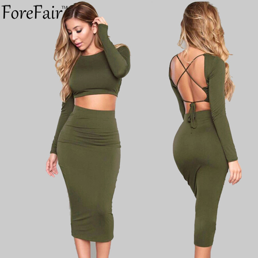 ForeFair Two Piece Set Backless Bandage Autumn Winter Dress Long Sleeve Midi Sexy Bodycon Party Dresses Women