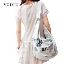 2017 Black Korean Over Shoulder Bags Women Female Irregular Canvas Crossed Body Crossbody Handbags Bag Ladies N Messenger Bags(China)