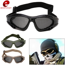 Element Tactical Goggle Eye Protective With Metal Steel Mesh for Airsoft Paintball Safety Durable Eyewear Round Hole CY328(China)