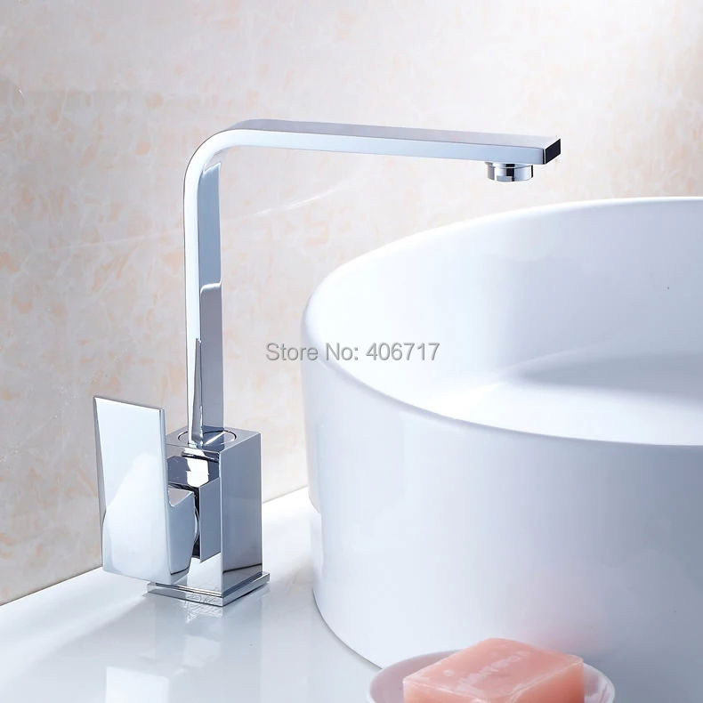 Contemporary Brass Kitchen Faucet Chrome Finish 360 Degree Rotating Square Bathroom Basin Sink Hot Cold Water Mixer Taps<br><br>Aliexpress