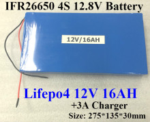 Lifepo4 12V 16AH battery 12.8V 16AH IFR 26650 battery pack +3A Charger for replacement 240W Xenon fishing Solar street LED lamp(China)