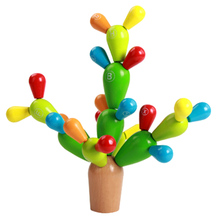 Early Education Wooden Toy Plan Toys Balancing Cactus Wooden Preschool Game Baby Kids Developmental Intelligence Toy DIY(China)