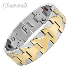Channah 2017 Bracelet For Men 4in1 2-Tone Gold Large Heavy Stainless Steel Wide Magnetic Magnet Big Bangle Wristband Charm(China)