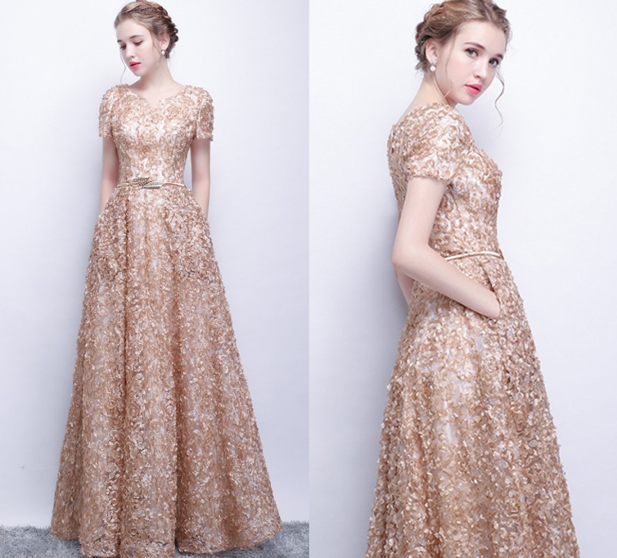 Vestido De Festa Long Lace Prom Evening Gowns Vintage Gold Formal Dresses Robe De Soiree 2018 Party Dress Maxi Dress