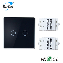 Saful Wireless Luxury Wall Switch 2 Gang 2 Way Push Button light LED Indicator Wireless Remote Control touch Switch for Lamps