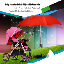 Brand New Baby Stroller Accessories Sunshine Umbrella Colorful Baby Children Pushchair Adjustable Folding Umbrella with Holder(China)