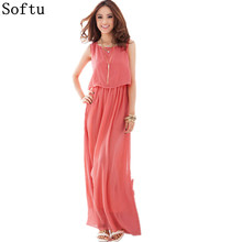 Softu Long Dress Summer Fashion Party Beach Dresses Chiffon Tank Sleeveless High Waisted Bohemian Dress Vestido