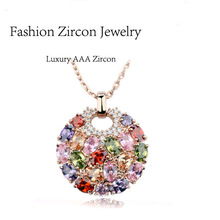 EBAY&AliExpress Hot Sell Multicolor AAA Zircon Rose Gold Plated Pendant Necklace for Women,18k Gold Swiss CZ Round Jewelry