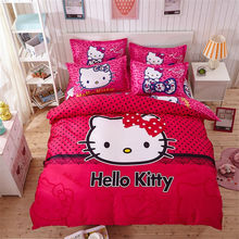 4pcs Hello Kitty Cartoon Bedding Set Kids with Duvet Cover Bed Sheet set of Bed Linen Bedsheet Bedspread Sheets Queen Twin Size