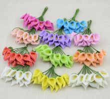12pcs Mini Foam Calla Handmake Artificial Flower Bouquet Wedding Decoration DIY Wreath Gift Box Scrapbooking Craft Fake Flower(China)