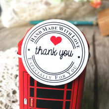 "100PCS ""Thank you"" Round White Kraft Stationery label sticker DIY Retro Seal sticker For products handmade with Love(China)"