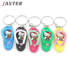 JASTER 100% real capacity Slippers Pen Drive Cartoon hello kitty gift 4GB 8GB 16GB 32GB tom cat Usb Flash Drive Pendrive