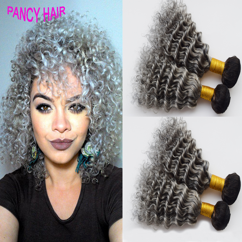 Hot sales Two Tone Ombre Hair 300G #1B Silver Grey Hair Weave Human Deep Wave Malaysian Hair Weave Bundles Queen Hair Products<br><br>Aliexpress