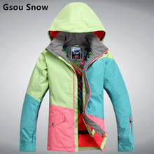 New Brand GSOU SNOW Women's Snowboard ski jackets Waterproof breathable camping coat Outdoor sports Thicken super warm ski wear(China)